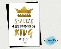Printable Birthday Card - Grandad, the Original King of Cool - Instant PDF Download