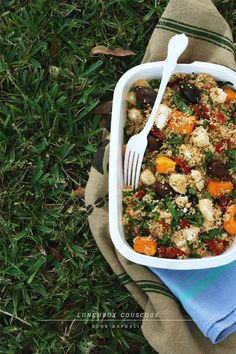 Lunch Box Idea - Couscous with roast sweet potato & feta cheese & sundried tomatos- tried and tested! Really filling! 10/10
