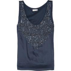 DAY Birger et Mikkelsen Day Camille embellished washed-satin top ($200) ❤ liked on Polyvore