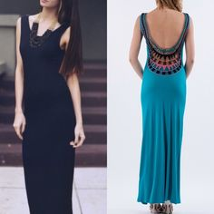 💠💠The TARA low back maxi dress - TURQUOISE/BLACK 🎉️HPx2🎉SLEEVELESS LOW BACK MAXI DRESS WITH BACK DETAIL TRIM. Talk about sexy back! Front is conservative but back is jaw dropping HOT! Limited sizes. ‼️️NO TRADE‼️ BLACK ONLY S AVAILABLE Bellanblue Dresses Maxi