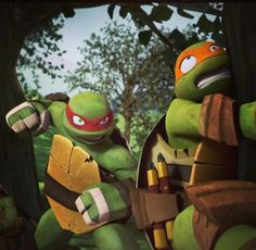 THIS PART Raph just pretends to throw a punch and Mikey rushes and runs into the tree again. Nice on Raph.