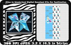 Alice In Wonderland Cheer Bow Sublimation Strips Download File