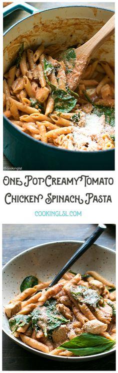 One-pot-creamy-tomato-chicken-spinach-pasta-with-Barilla-Pronto #BarillaPronto #OnePanPronto #ad @barilla @walmart