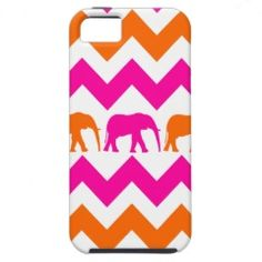 Bold Hot Pink Orange Elephants Chevron Stripes iPhone 5 Cases #iphone5 #iphonecases #zazzle #prettypatterngifts www.PrettyPatternGifts.com