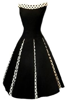 Black Vintage-style Swing Evening Cocktail Party Dress - contrasting polka dot collar, that sits across the collar bone; 8 inverted Polka Dot panels; Side zip fastening, with a stretchy fabric for that perfect fit.