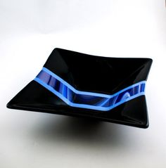 Black and Blue Fused Glass Bowl Serving Dish by Nostalgianmore