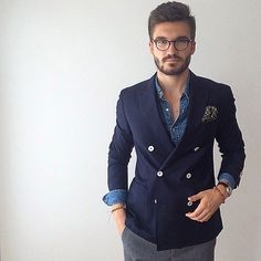 Navy double breasted jacket, over chambray shirt, Urban Street Style, Men's Spring Summer Fashion.