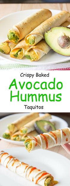 Delicious and healthy! Avocado hummus taquitos are tortillas with hummus, sliced avocado, and shredded cheese rolled into small tubes; and baked until crunchy.