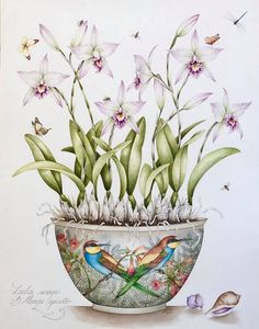 Kelly  Higgs  (b.1978)  — Laelia Anceps with European Bee-eaters, 2017   (722x920)