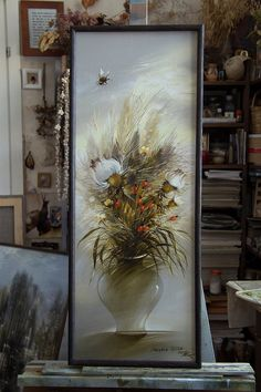 "Items similar to Oil painting ""Still life with bumblebee"" unique original one of a kind thistle flowers berry nature vase plant golden sepia impressionism on Etsy Thistle Flower, Painting Still Life, Impressionism, Unique Art, Berries, Vase, Oil, The Originals, Creative"