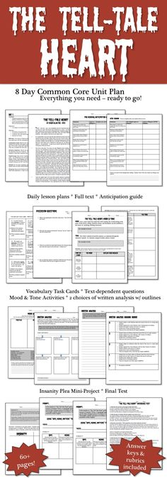 Heart by Edgar Allan Poe - 8 Day Short Story Unit Plan The Tell Tale Heart by Edgar Allan Poe - 8 Day Common Core Aligned UnitThe Tell Tale Heart by Edgar Allan Poe - 8 Day Common Core Aligned Unit Middle School Reading, Middle School English, Middle School Teachers, High School, Teaching Literature, Teaching Reading, Kindergarten Writing, Literacy, Learning