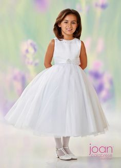 45194a3b08 Joan Calabrese by Mon Cheri flower girl dress White Satin Dress