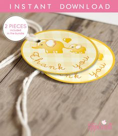 Instant Download Yellow Elephant Thank You Tags Yellow Grey Printable Elephant Baby Shower Gift Tags Gender Neutral Thank You Tags by TppCardS #tppcards
