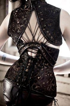 """OOak 24"""" Steampunk Corset and  Halter Ensamble made from Laser Cut leather - Includes panties, garters and pasties - edwardian longline on Etsy, $685.00"""