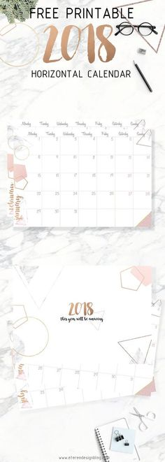 free 2018 printable calendar- gold and pink Calander Printable, 2018 Printable Calendar, Printable Planner, Free Printables, Free Calender, Free Monthly Calendar, Print Calendar, Marble Printable, Diy Calendario