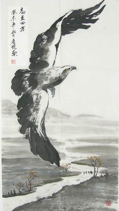 Chinesemagic.com - Original Chinese Painting with Artist's Signature, Oriental Painting, Eagle, Zhenke Zhao