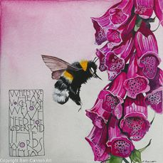 White tail bee with foxglove « Sam Cannon Art Illustrations, Illustration Art, Gouache, Sam Cannon, I Love Bees, Bee Art, Bee Happy, Bees Knees, Word Art