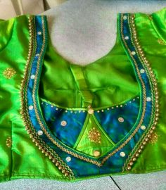 Dark Green and Goldeb Patch Work Blouse Designs, Simple Blouse Designs, Blouse Back Neck Designs, Stylish Blouse Design, Salwar Neck Designs, Designer Blouse Patterns, Orange Blouse, Saree Blouse, Embroidered Blouse