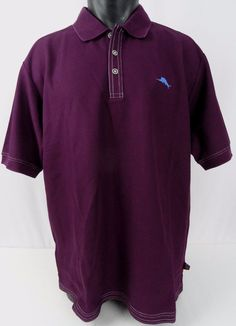 NWT Tommy Bahama Emfielder XL Polo Shirt Purple Rum Berry Wicking Rare Color SS #TommyBahama #PoloRugby