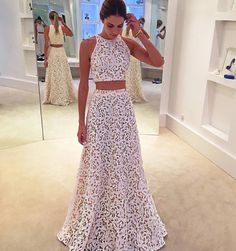 Formal Prom Dresses, Two Piece A-line Jewel Sleeveless Floor Length White Lace Prom Dress Whether you prefer short prom dresses, long prom gowns, or high-low dresses for prom, find your ideal prom dress for 2020 Prom Dresses Two Piece, Prom Dresses 2017, Long Prom Gowns, Beautiful Prom Dresses, Cheap Prom Dresses, Modest Dresses, Cute Dresses, Dress Prom, Bridesmaid Dresses