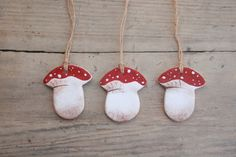 Set of 3 Salt Dough Toadstools hanging Ornaments, tree decorations, Hanging toadstools, Christmas hanging decorations, Toadstools ornament. by BRsaltycandy on Etsy