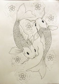 "Koi fish are the domesticated variety of common carp. Actually, the word ""koi"" comes from the Japanese word that means ""carp"". Outdoor koi ponds are relaxing. Koi Fish Drawing, Fish Drawings, Outline Drawings, Tattoo Drawings, Art Drawings, Tattoo Outline Drawing, Pond Drawing, Pisces Tattoo Designs, Pisces Tattoos"