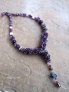 Purple Amethyst Necklace, Natural Stones Agate Necklaces, Unique Artisan Choker, Bib Handmade Fashion Necklace, OOAK, Stylish, Beaded neckla