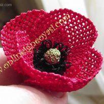 İğne oyası gelincik çiçeği yapımı