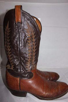 Tony Lama 6531 Vintage Aztec Shrunken Shoulder Western Cowboy Brown Boots 12 B #TonyLama #CowboyWestern