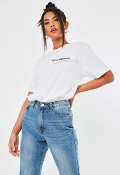 White Social Distancing Graphic T Shirt | Missguided