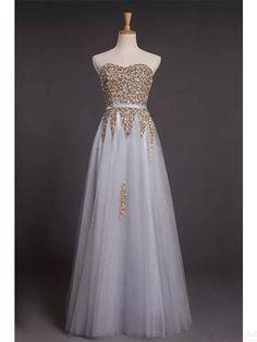 Sequins Strapless Long Tulle  Prom Dresses Evening  Dresses  #SIMIBridal #promdressees