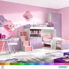 Una habitación rosa con lila para las princesas de la casa; el color rosa representa la dulzura, delicadeza y feminidad de una persona. #IluminaTuMundo