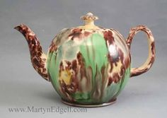 Creamware teapot with Whieldon type glazes, circa 1770. More stock available at www.martynedgell.com