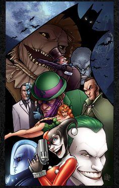Batman Villains, in Comfort Love's Pin-ups Comic Art Gallery Room Superman, I Am Batman, Batman Stuff, Batman Art, Comic Books Art, Comic Art, Book Art, Gotham Villains, Batman Universe