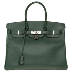 Sacs à main Hermès Hermès Birkin 35 en cuir Epsom vert anglais, garniture en métal argent Palladié, en excellent état Cuir Vert ref.172825 - Joli Closet