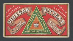 """Dr. Walker's California Vinegar Bitters - Trade Card   Attractive card for this product that was a """"great blood purifier & life giving principle"""",  Free from alcohol !!!  Fine condition.  Dimensions:  5-3/4 x 3"""