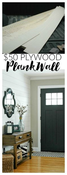 THIS IS AMAZING! $50 in plywood completely transformed this entryway!  Do it yourself with this easy step by step tutorial. www.littlehouseoffour.com