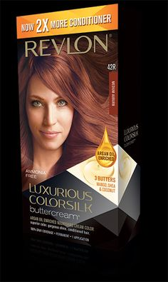 Revlon® Luxurious ColorSilk Buttercream™. AMMONIA-FREE, NOURISHING CREAM COLOR. My Shade: 42R MEDIUM AUBURN.