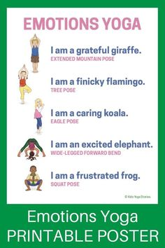 Emotions Yoga (Printable Poster) - learn about feelings through yoga poses for kids! | Kids Yoga Stories #YogaPoses