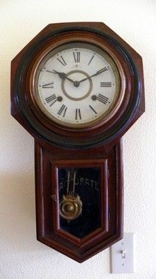 Antique Meiji Pendulum Wall Clock Made In Nagoya Japan Over 100 Years Old Good Condition Runs Well Solid Wooden Case Wall Clock Clock Pendulum Wall Clock