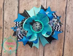 "Monster High Frankie Stein character inspired 5"" Boutique hair bow, girl  Hair clippies, headbands, hair bows"