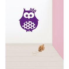 Muursticker uil meisje (in meerdere kleuren beschikbaar) #muursticker #kinderkamer #dieren #kidzstijl #uil #babykamer