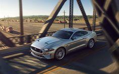 Scarica sfondi Ford Mustang, 4k, la nuova Mustang, argento Mustang, strada, velocità, auto Americane, Ford