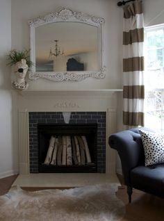 vinyl chalkboard sheets surrounding fireplace