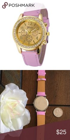 💕Pink Fashion Watch with Gold Face and Bling 💕 💕Pink Fashion Watch with Gold Face Surrounded in Bling 💕 Perfect to Sparkle in! 💕 (Second Picture to Show Size of Watch along side a Quarter.) Accessories Watches