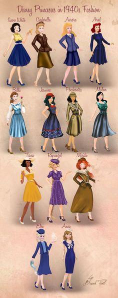 Disney princesses in fashion by Basak Tinli from BasakTinli - Outfit. Walt Disney, Disney Pixar, Disney Fan Art, Cute Disney, Disney Girls, Disney Animation, Disney And Dreamworks, Disney Magic, Funny Disney