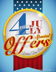Patriotic button with ribbons like U.S. flag for Independence Day offers for July 4.
