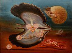 Perles roses 1985 huile sur toile  © Marcel Pétron - Nouméa, Nouvelle-Calédonie #MarcelPetron #gouttedeau #nautile #coquillage