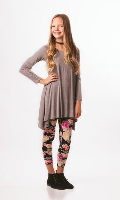 Grey high-low top with floral legging.