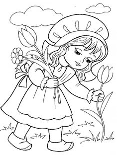 Piroska összegyűjti virágok - Színező №494 Pencil Drawings Of Girls, Art Drawings Sketches Simple, Art Drawings For Kids, Drawing For Kids, My Drawings, Disney Coloring Pages, Animal Coloring Pages, Coloring Book Pages, Coloring Pages For Kids
